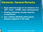 elements general remarks