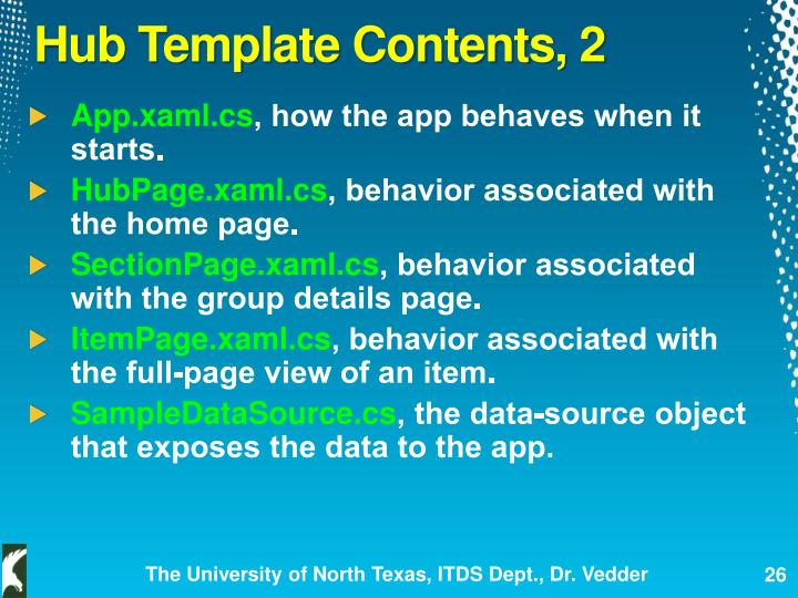 Hub Template Contents, 2