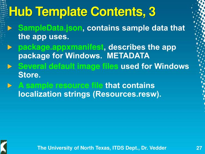 Hub Template Contents, 3