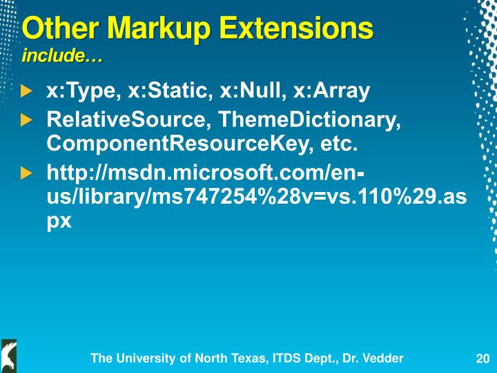 Other Markup Extensions