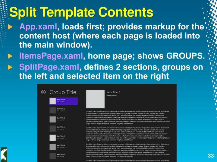 Split Template Contents