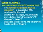 what is xaml a descriptive language what not procedural how