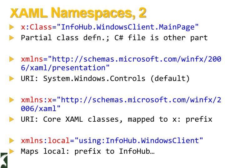 XAML Namespaces, 2