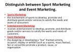 distinguish between sport marketing and event marketing