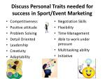 discuss personal traits needed for success in sport event marketing