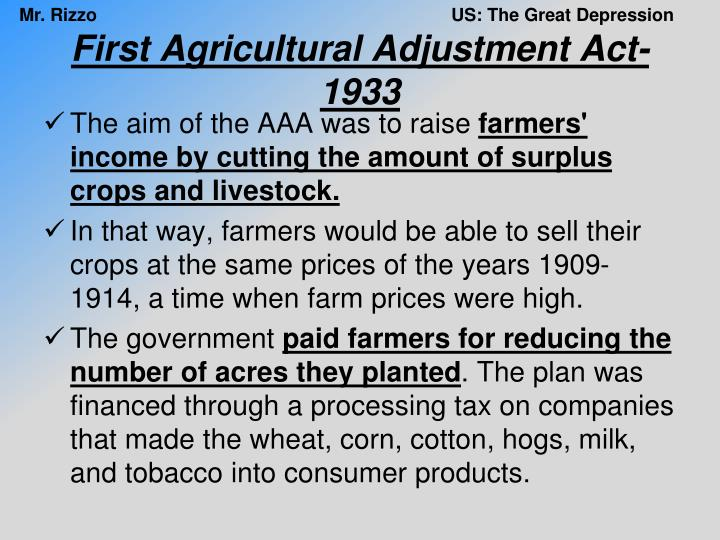 First Agricultural Adjustment Act-1933