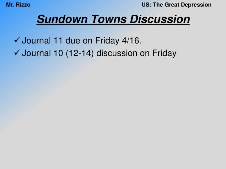 Sundown Towns Discussion