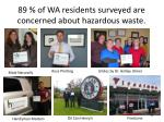 89 of wa r esidents surveyed are concerned about hazardous waste