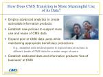 how does cms transition to more meaningful use of its data