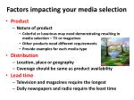 factors impacting your media selection1