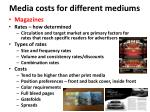 media costs for different mediums1