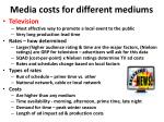 media costs for different mediums2