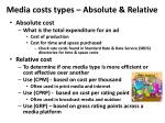 media costs types absolute relative