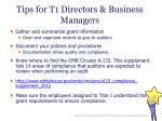 tips for t1 directors business managers
