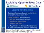 exploiting opportunities data1