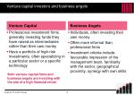 venture capital investors and business angels