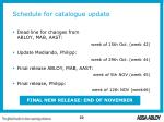 schedule for catalogue update