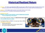 historical realized return