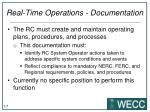 real time operations documentation