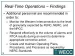 real time operations findings