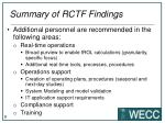 summary of rctf findings