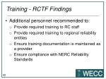 training rctf findings