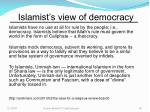 islamist s view of democracy