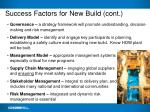 success factors for new build cont