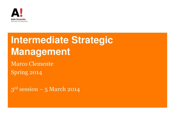 intermediate strategic management n.