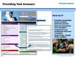 providing fast answers