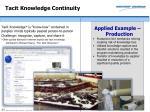 tacit knowledge continuity