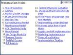 presentation index