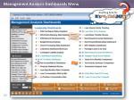 management analysis dashboards menu