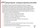 being prepared emergency operations plan eop