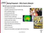 being prepared hics event lifecycle