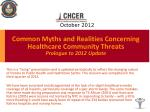 common myths and realities concerning healthcare community threats prologue to 2012 update