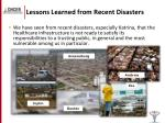 lessons learned from recent disasters