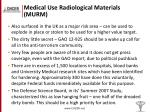 medical use radiological materials murm