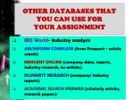 other databases that you can use for your assignment