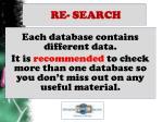 re search
