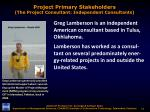 project primary stakeholders the project consultant independent consultants