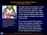 project primary stakeholders the project team1