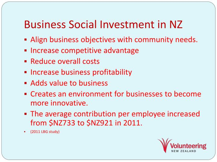 Business Social Investment in NZ