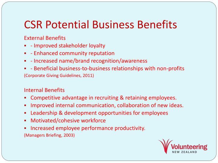 CSR Potential Business Benefits