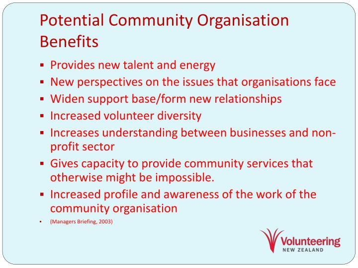 Potential Community Organisation Benefits