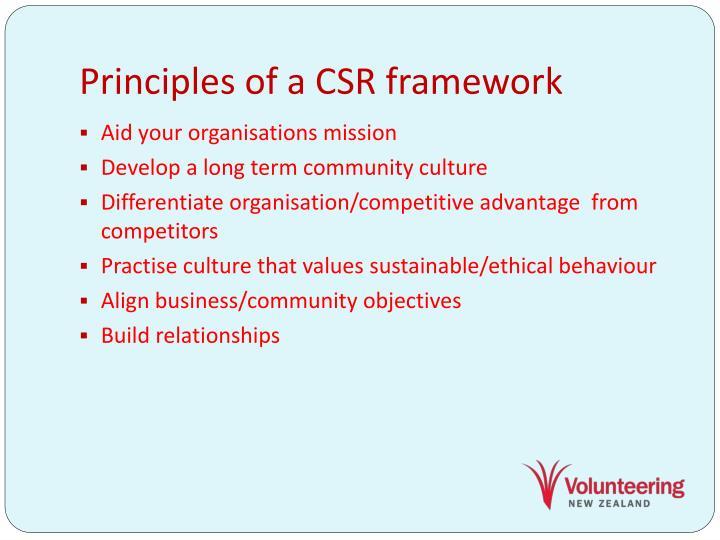 Principles of a CSR framework