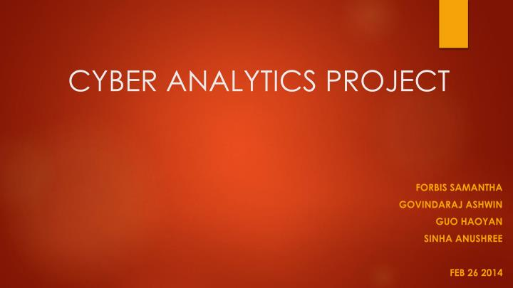 cyber analytics project n.