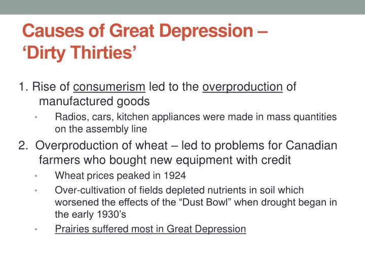 Causes of great depression dirty thirties