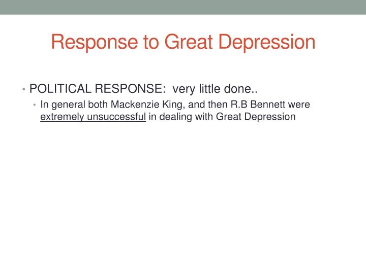 Response to Great Depression