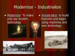 modernize industrialize